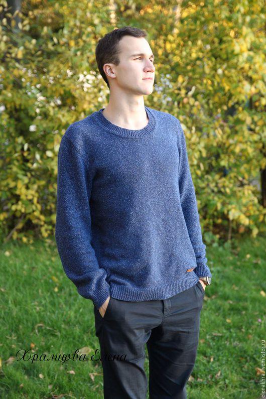 """Для мужчин, ручной работы. Ярмарка Мастеров - ручная работа. Купить Мужской пуловер """"Синий твид"""". Handmade. Синий"""