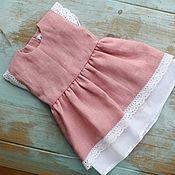 handmade. Livemaster - original item Doll clothes, pink dress for dolls made of natural linen. Handmade.