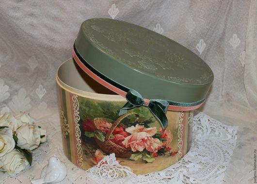 """Корзины, коробы ручной работы. Ярмарка Мастеров - ручная работа. Купить Шляпная коробка """" Весенние зарева роз"""". Handmade."""
