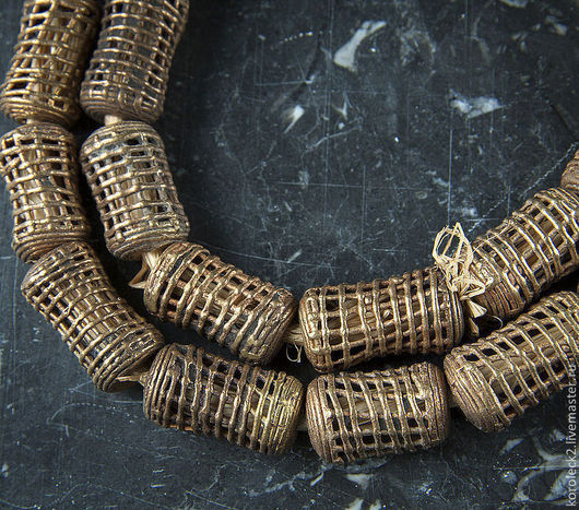 Для украшений ручной работы. Ярмарка Мастеров - ручная работа. Купить Ажурные латунные бусины-косточки с сеточкой. Handmade. Золотой