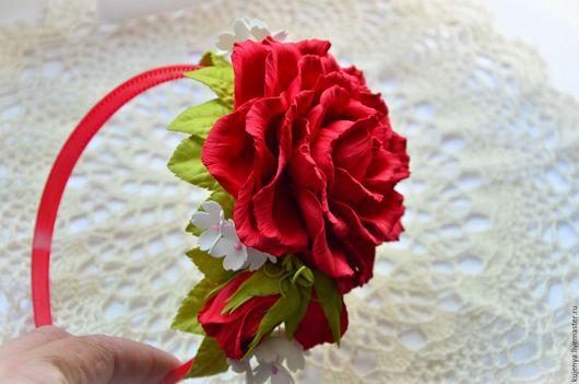 """Диадемы, обручи ручной работы. Ярмарка Мастеров - ручная работа. Купить Ободок с розой из фоамирана """"Красный"""". Handmade. Ярко-красный"""