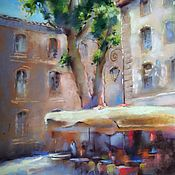 Картины и панно handmade. Livemaster - original item Urban landscape Summer cafe (green beige painting). Handmade.