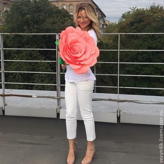 Свадебные цветы ручной работы. Ярмарка Мастеров - ручная работа. Купить Роза из гофрированной бумаги, цвет коралл. Handmade. Коралловый