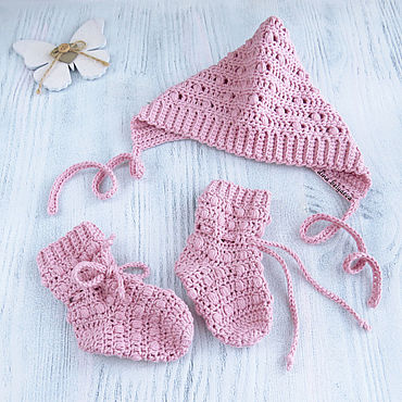 Clothing handmade. Livemaster - original item Set knitted cap and knitted socks for girls pink discharge. Handmade.
