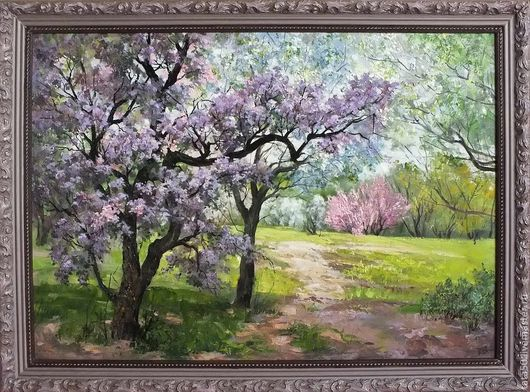 """Пейзаж ручной работы. Ярмарка Мастеров - ручная работа. Купить """"Весна цветет"""". Handmade. Сиреневый"""