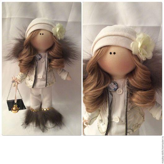 Куклы тыквоголовки ручной работы. Ярмарка Мастеров - ручная работа. Купить Интерьерная текстильная кукла большеножка Зимняя Снежка. Handmade.