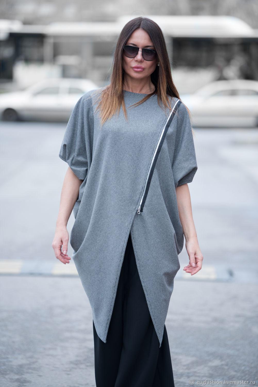 Asymmetric tunic in the style of 'Boho' - TU0448PM, Blouses, Sofia,  Фото №1