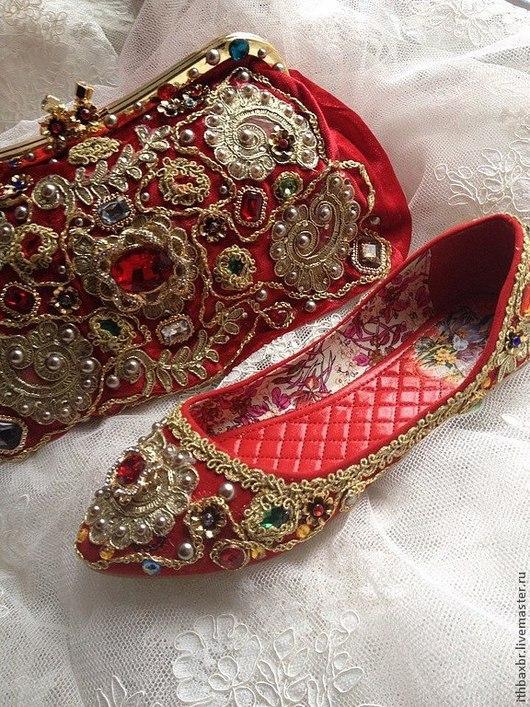 """Обувь ручной работы. Ярмарка Мастеров - ручная работа. Купить Балетки""""Зачарованная Сицилия""""в стиле DG. Handmade. Ярко-красный, яркие"""