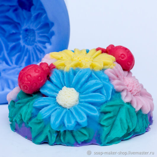 Silicone mold for soap 'Floral meadow 2', Form, Shahty,  Фото №1