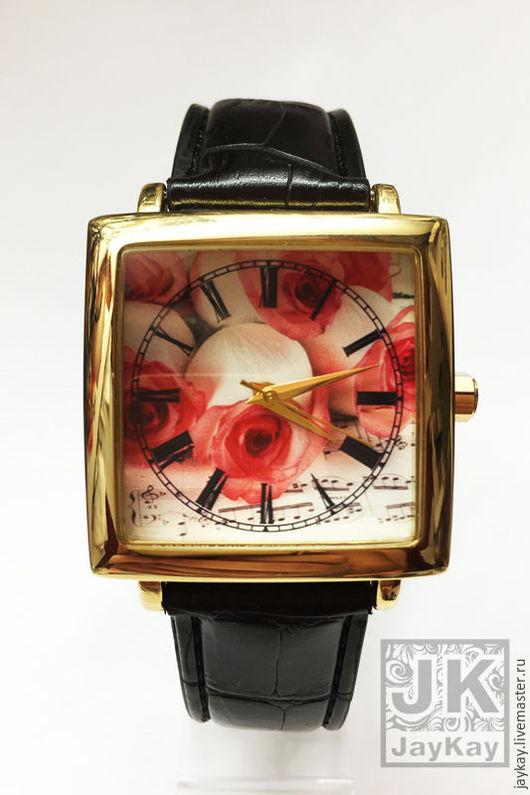 """Часы ручной работы. Ярмарка Мастеров - ручная работа. Купить Часы наручные JK """"Розы/ноты"""" квадрат. Handmade. Часы"""