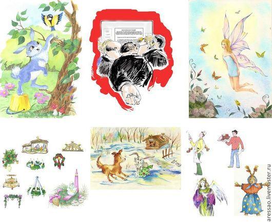 В центре иллюстрация-каррикатура для журнала «Охота» - национальный охотничий журнал. Ручная работа, графический планшет, фотошоп.