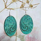 Украшения handmade. Livemaster - original item Transparent Oval Earrings Emerald Green Paisley Pattern India. Handmade.