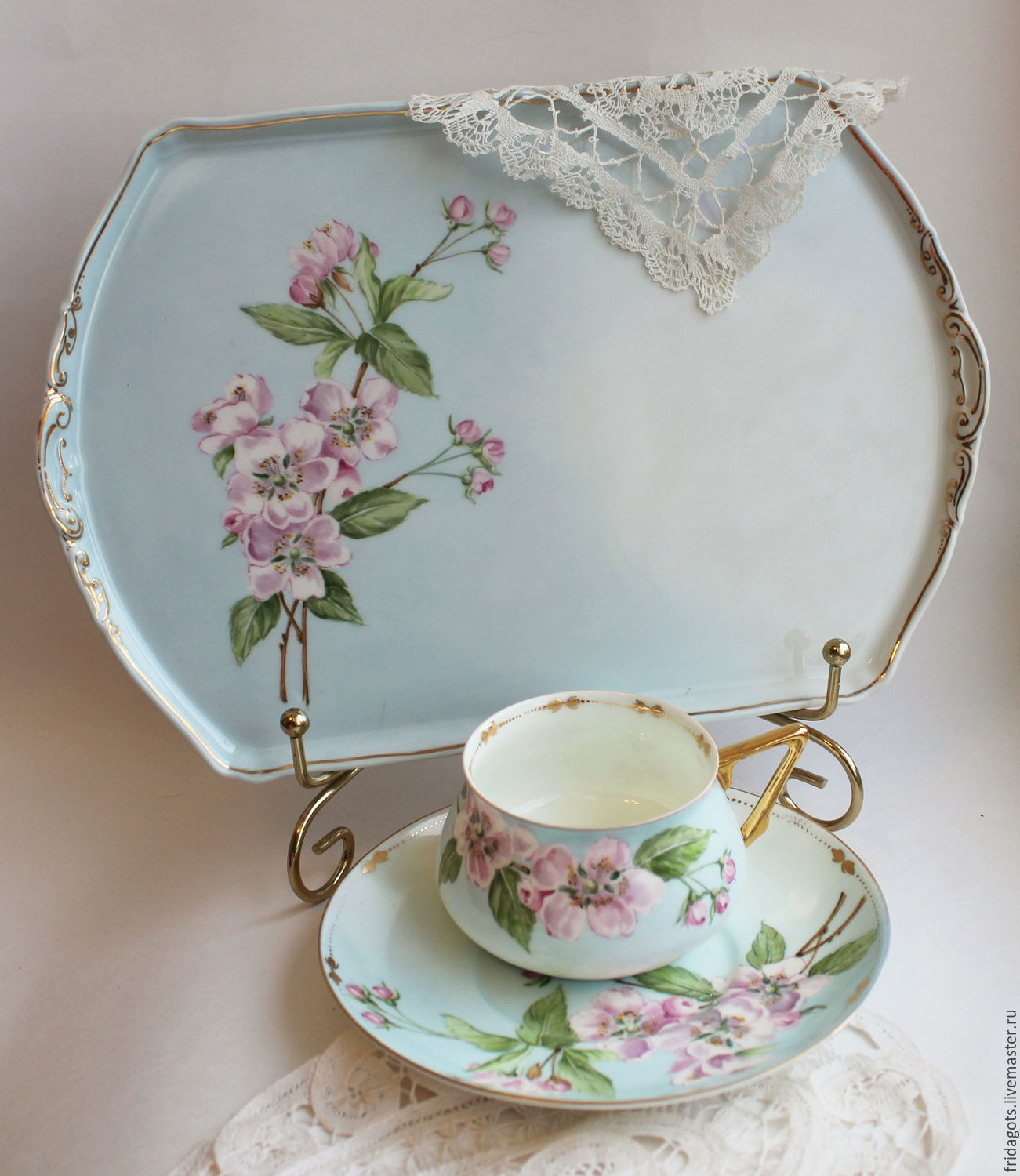 Painted porcelain. Set - solitaire ' Apple trees in bloom', Tea & Coffee Sets, Kaluga,  Фото №1