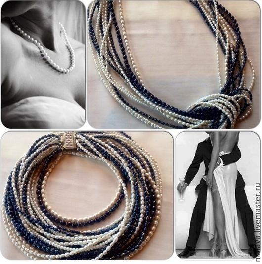 Колье на шею  ожерелье ручной работы Украшение длинные бусы из натурального жемчуга модная авторская бижутерия