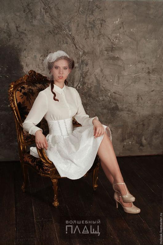 Юбки ручной работы. Ярмарка Мастеров - ручная работа. Купить Белая юбка праздничная на высоком поясе, корсет. Handmade. Белый