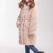 Работы для детей, handmade. Livemaster - original item Light mutton fur coat for girls in cross stripes. Handmade.