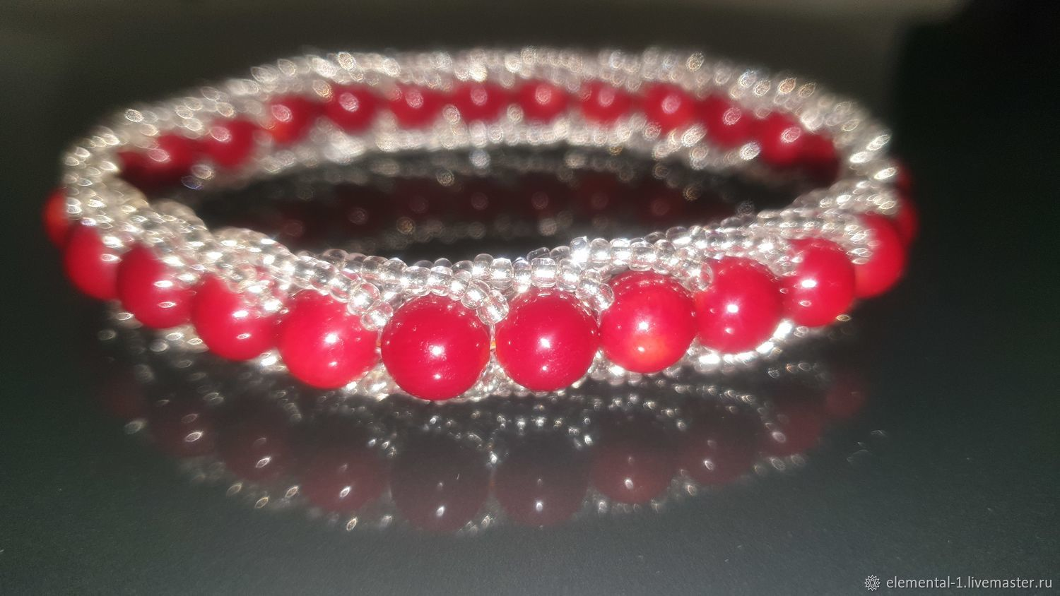 Beaded coral bracelet, Amulet, Moscow,  Фото №1