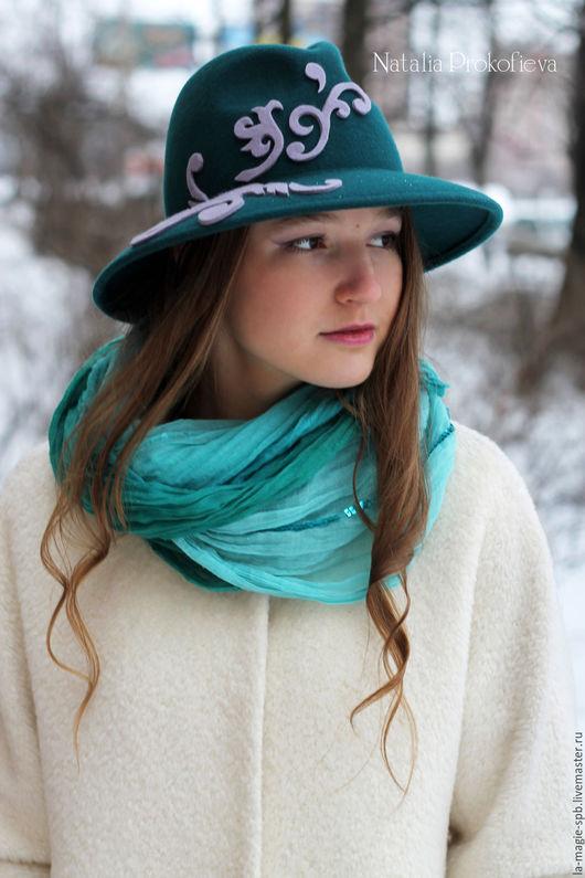 """Шляпы ручной работы. Ярмарка Мастеров - ручная работа. Купить Фетровая шляпа """"Rococo"""" (Рококо). Handmade. Морская волна"""