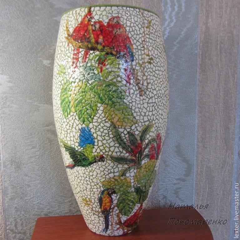 Вазы ручной работы. Стеклянная ваза  Попугаи, Вазы, Москва,  Фото №1