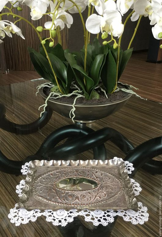Винтажная посуда. Ярмарка Мастеров - ручная работа. Купить Винтажный поднос серебрение.. Handmade. Серебряный, серебряный поднос, подарок мужчине