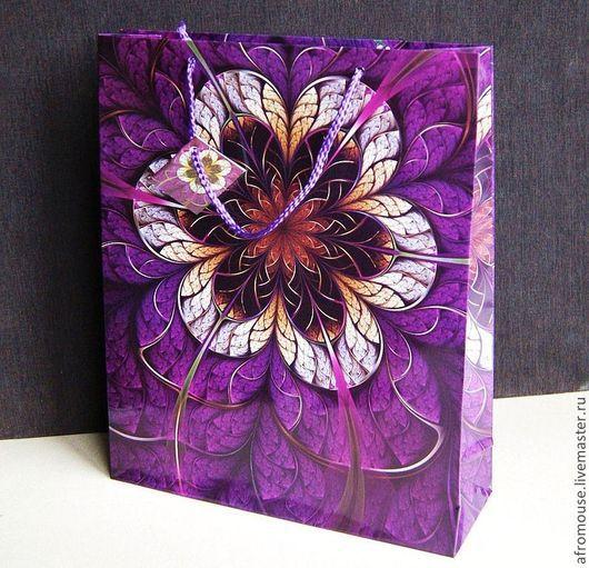 """пакет упаковочный """"Волшебный Лиловый цветок""""\r\nСредний размер (28 х 34 х 9 см)"""