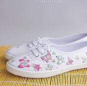 Обувь ручной работы. Ярмарка Мастеров - ручная работа Кеды с росписью Summer Butterflies. Handmade.