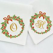 Wreaths handmade. Livemaster - original item Christmas Napkin with Embroidery