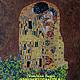 картина маслом копия Климт Поцелуй картина Климт купить Москва Климт в подарок девушке женщине интерьерная живопись картина масло