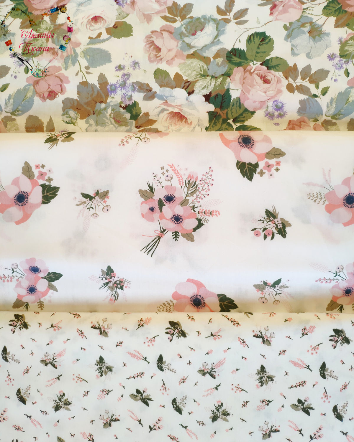Fabrics Moscow Satin China Cotton flowers Provence, Fabric, Moscow,  Фото №1