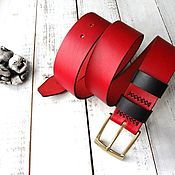 Аксессуары handmade. Livemaster - original item Handmade genuine leather belt red 40mm. Handmade.