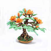 Цветы и флористика handmade. Livemaster - original item Trees beaded bonsai blossoming terracotta. Handmade.