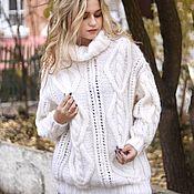 """Одежда ручной работы. Ярмарка Мастеров - ручная работа Вязаный женский свитер """"Магия"""" белого цвета с высоким горлом. Handmade."""