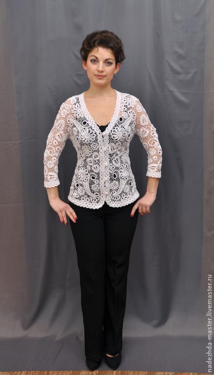 """Пиджаки, жакеты ручной работы. Ярмарка Мастеров - ручная работа. Купить Жакет ажурный """"Белая Лилия"""" летняя одежда, ирландское кружево. Handmade."""