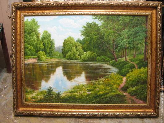 Пейзаж ручной работы. Ярмарка Мастеров - ручная работа. Купить У пруда. Handmade. Пейзаж, пруд, картина в подарок, масло