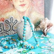 Украшения ручной работы. Ярмарка Мастеров - ручная работа Комплект  Бирюза в серебре с позолотой. Handmade.
