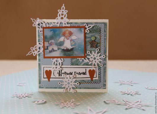 """Открытки к Новому году ручной работы. Ярмарка Мастеров - ручная работа. Купить Открытка """"Snow Angel"""". Handmade. Голубой"""