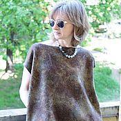 Одежда handmade. Livemaster - original item Felted tunic Brown Square. Handmade.