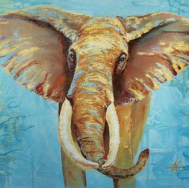 Картины и панно ручной работы. Ярмарка Мастеров - ручная работа Картина маслом Слон, авторская живопись маслом на холсте. Handmade.