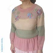 Одежда handmade. Livemaster - original item Blouse women`s Spring, knitted, striped, embroidery stitch. Handmade.