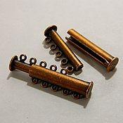 Материалы для творчества handmade. Livemaster - original item Bracelet LOCK MAGNETIC antique copper 5 STRANDS. Handmade.