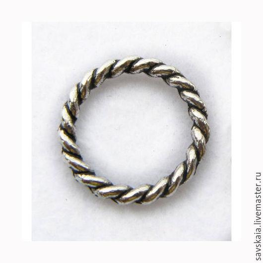 Колечки 15 mm, витые, цвет античное серебро, материал металл