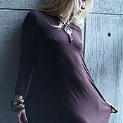 Одежда ручной работы. Ярмарка Мастеров - ручная работа Платье трикотажное Assymetric brown. Handmade.