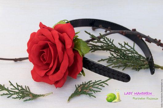 Диадемы, обручи ручной работы. Ярмарка Мастеров - ручная работа. Купить Широкий ободок с красной розой. Handmade. Ярко-красный