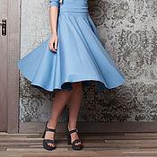 Одежда ручной работы. Ярмарка Мастеров - ручная работа Юбка-солнце Небесно-голубая. Handmade.