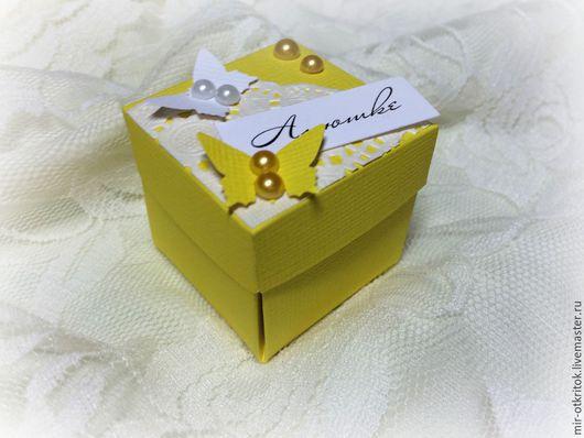 Свадебные аксессуары ручной работы. Ярмарка Мастеров - ручная работа. Купить Бонбоньерка. Handmade. Желтый, коробочка для конфет, коробочка с бабочками