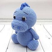 Куклы и игрушки handmade. Livemaster - original item Knitted toy Dinosaur blue. Handmade.
