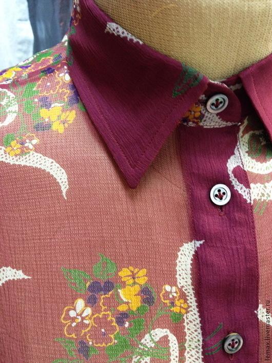 """Блузки ручной работы. Ярмарка Мастеров - ручная работа. Купить Блузка """"Винтаж"""". Handmade. Бордовый, винтаж, 100% шёлк"""