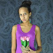 Одежда ручной работы. Ярмарка Мастеров - ручная работа Весенне-летнее  платье цвета фуксия из вискозы и бамбука. Handmade.