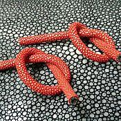 Материалы для творчества handmade. Livemaster - original item Cords made of genuine, polished stingray leather, red color.. Handmade.