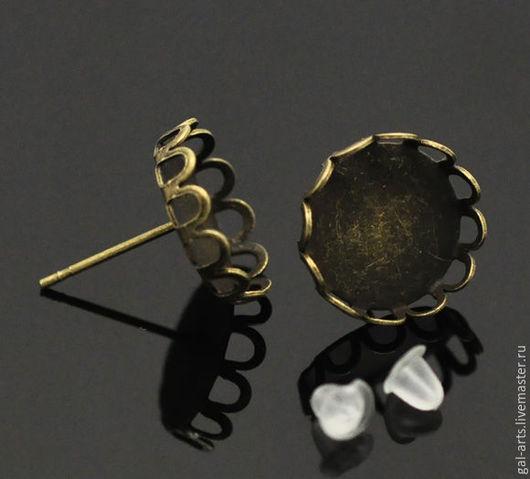 Для украшений ручной работы. Ярмарка Мастеров - ручная работа. Купить Серьги-гвоздики с ажурным сеттингом. Handmade. Античная бронза